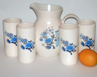 Vintage White Ceramic Pitcher with Blue Flowers & Four (4) Matching Glasses/Tumblers, Vintage Kitchen Decor, Vintage Drinkware
