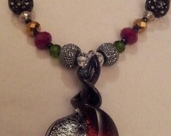 Bicolor knob twist heart murano glass lampwork pendant necklace, multi colored beaded necklace