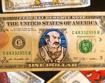 Carl from Aqua teen hunger force painted on a dollar