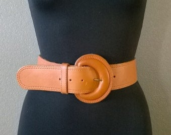 Vintage 80's Brown Orange Genuine Leather Belt Size Small 2 inch