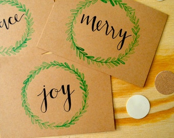 Holiday Cards (Set of 9)  - Christmas - Modern Calligraphy - Hand Lettered Invitation - Watercolor