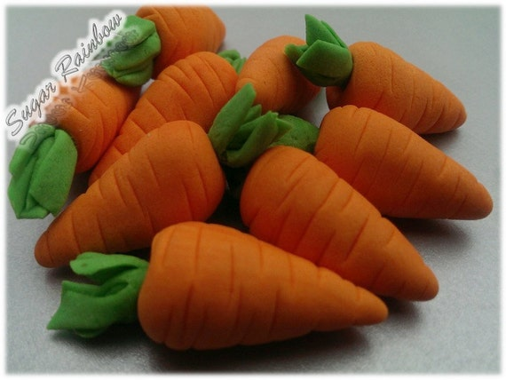 Edible sugar carrots vegetables decorations for by Sugarainbow