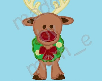Red Nose Reindeer with Wreath Applique