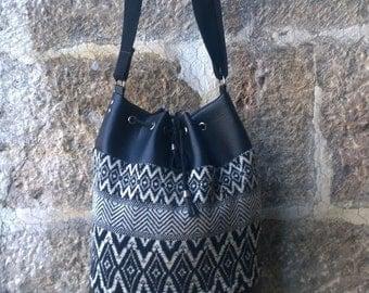 Kilim patterned, Ethnic, Patchwork Bucket Bag