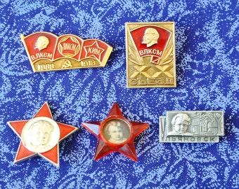 Lenin - Set Soviet pin badges- Old vintage soviet USSR pin badge CCCP-Communist propaganda-Soviet union pins, soviet era badges, USSR