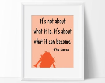Lorax Quote Art Print - Children's Wall Art - Playroom Decor - Nursery Decor - Quote Art Print