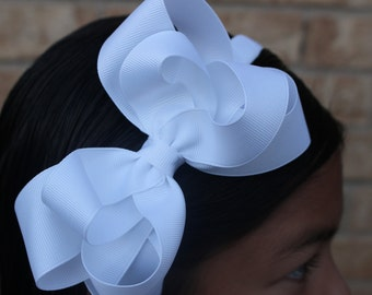 White Bow Headband - Boutique Bow- Double Layer Bow -  School Uniform Bow - Girls Bow