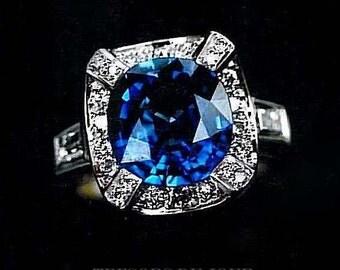 Unique Sapphire Engagement Ring 'Vendome' Halo Engagement RING Real Sapphire Diamond Ring  Unique Sapphire Engagement Ring White Gold