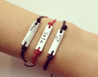 Hand stamped custom wish bracelet