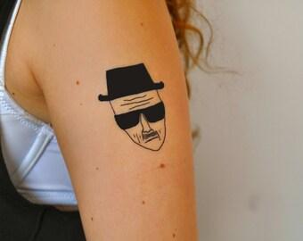 Heisenberg Temporary Tattoo, Walter White Temporary Tattoo, Breaking Bad Temporary Tattoo, Breaking Bad Gift Idea, Breaking Bad Geekery