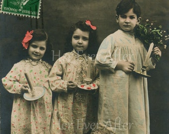 Cute Edwardian Kids in Night Gowns // Antique real photo postcard of sweet little girls & boy with candles // Charming vintage tinted photo