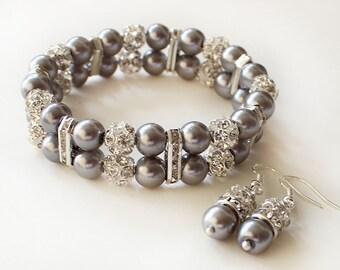 Bridesmaid pearl bracelet earrings gray pearl bridesmaid gift wedding jewelry 2 strands bracelet wedding jewelry rhinestone crystal bracelet