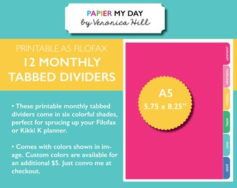 A5 Filofax Monthly Dividers Printable - Kikki K Monthly Dividers - Custom Colors Available!