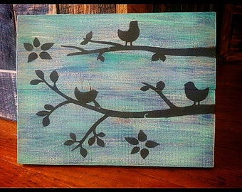 Birds on a Branch Hand Painted Wood Sign