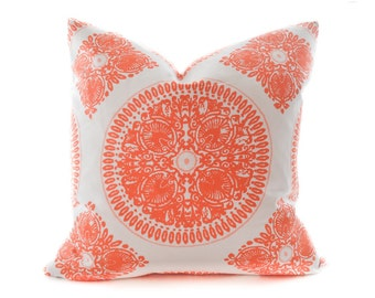 Orange Suzani Pillow Cover - white, bright orange, tangerine, bright coral toss pillow, medallion pillow, dial accent pillow, suzani pillow