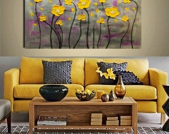 Abstract Painting Contemporary Oil painting Yellow Flowers  Landscape painting Acrylic painting Surreal Heavy Texture Rustic