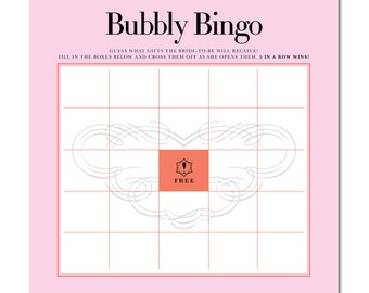 INSTANT DOWNLOAD - Printable Bridal Shower Bubbly Bingo Game - 8.5x8.5 - Champagne Brunch