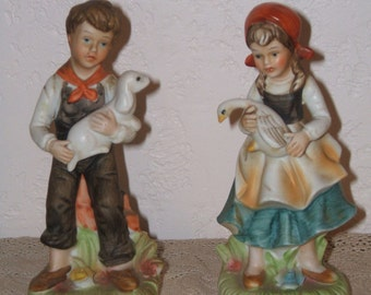 Exquisite Norleans Porcelain Boy and Girl Figurines With Their Puppy and Pet Goose
