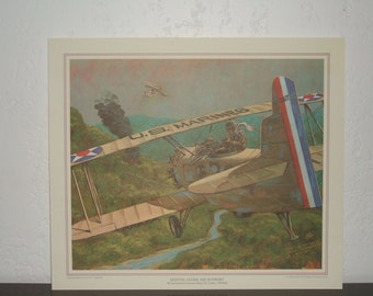 "Vintage Full-Color Lithograph ""Ocotal Close Air Support"" of Early U.S. Naval Aircraft: Wings of the Navy ""The Golden Age of Stick and Wire."""