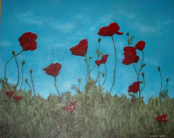 """Original Art  Painting,Poppies, Poppies, Poppies acrylic painting 36"""" x 40"""" canvas"""