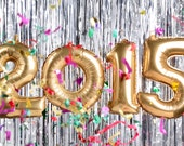 2015 Foil Baloon numbers - Party Decoration Gold, silver- New Year's Eve - Ready to Ship