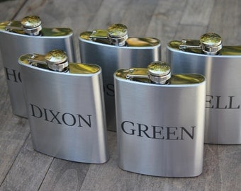 Stainless Steel 8oz engraved flask- groomsmen gift- set of 5- valentines gift