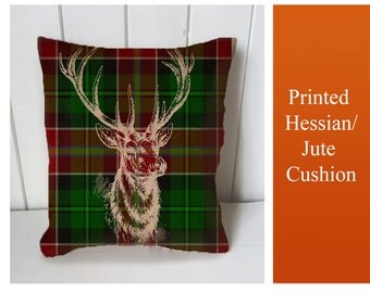Burlap stag pillow on 9961085