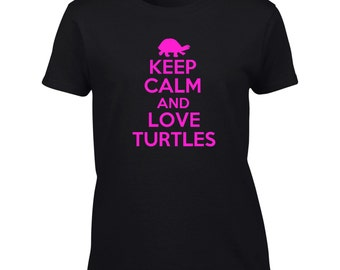 Keep Calm And Love Turtles T-Shirt Funny Turtle Mens Womens Youth Kids Big And & Tall
