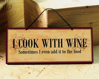 Kitchen Sign with Funny Wine Saying in Dark Red, Yellow & Black. Vintage Sign. Funny Sign. Wine Sign. Mothers Day Gift. Ready to Ship