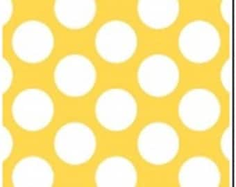 100% Cotton Flannel - Polka Dot - Yellow and White - White Dot - Quilting Cotton - Fabric by the Yard - Polka Dot Fabric