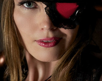 Red Steampunk Eyepatch with Black Lace