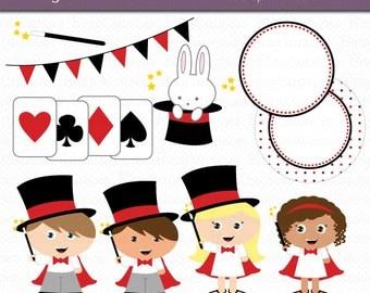 Magic Kids Digital Art Set Clipart Commercial Use Clip Art INSTANT Download Magician Clipart