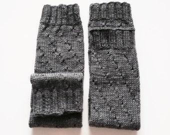 Wool Leg Warmers, Grey Wool, Hand Knitted Women's Accessories.