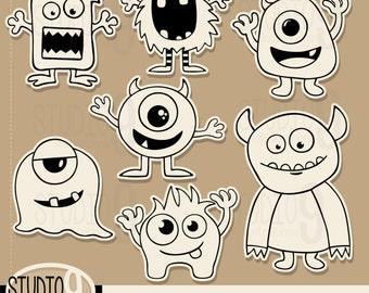 Monster Clip Art: SCRAPBOOK MONSTERS Clipart, Monsters Download, Vector Monsters