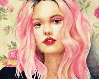 Pink Haired Girl - Original Artwork - Watercolor