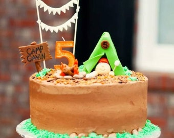 Handmade Edible Fondant Camping Cake Topper Set