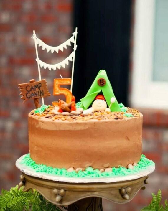 Edible Cake Images Instructions : Handmade Edible Fondant Camping Cake Topper Set