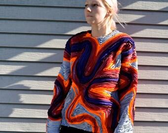 Purple and orange Swirls applique sweatshirt