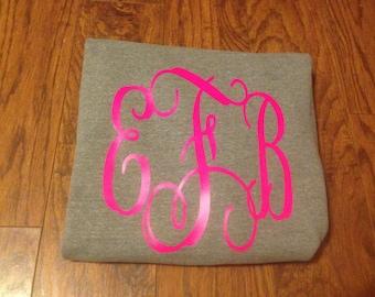 Youth sweatshirt w/ large vinyl monogram