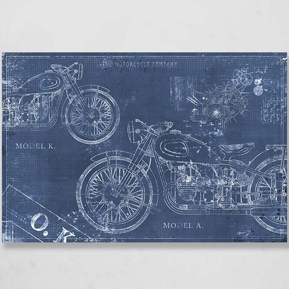 Blueprint motorcycle canvas art print 30x20 in motorcycle like this item malvernweather Images