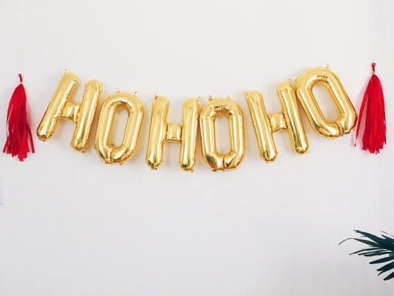 items similar to hohoho balloons gold mylar foil letter balloon banner kit on etsy
