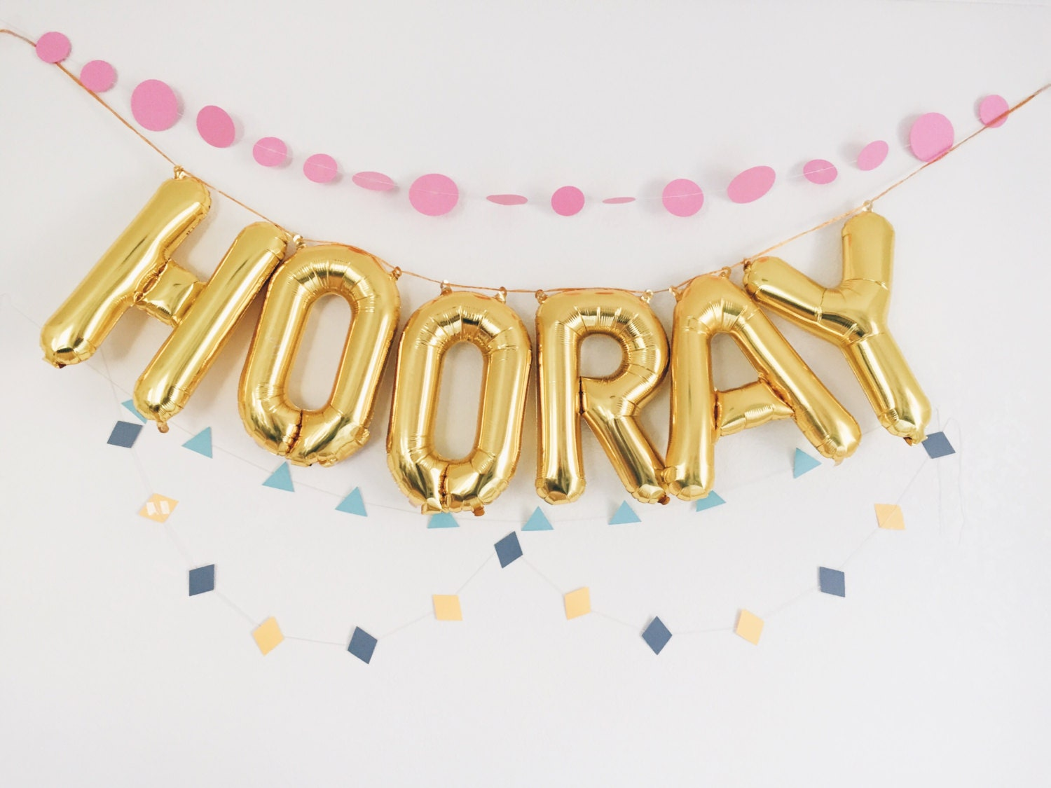 hooray balloons gold mylar foil letter balloon banner kit zoom