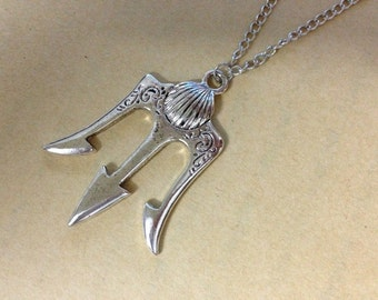 antique Silver trident Necklace Poseidon Weapons inspired ancient greek mythology jewelry halloween gift N327A