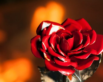 Steel Rose - Perfect Handmade Metal Rose Art - Forever Flower - Color - Red