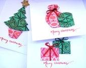 SALE* Christmas Tree, Presents,  Liqueur & Chocolates Set of 3 Textile Christmas Cards