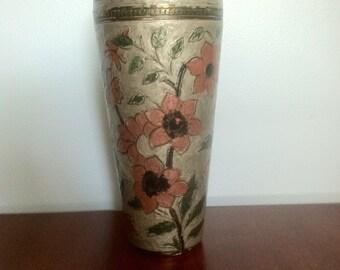 Vintage Floral Cloisonne Vase Enamel