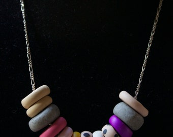 FREE SHIPPING! Hand-Rolled, Polymer Clay Statement Necklace