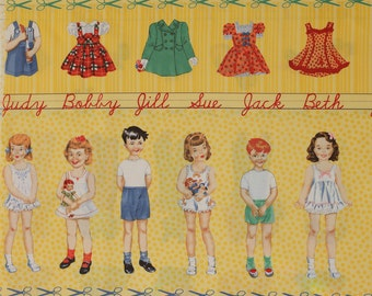 Snippets Paper Doll Panel Half Yard Yellow by American Jane for Moda OOP VHTF