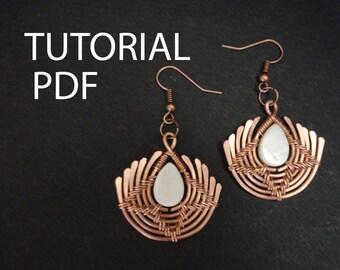 Earrings tutorial, wire wrap tutorial, copper wire tutorial, jewelry tutorial, wire wrapped lessons, wire wrap instructions, jewelry lessons