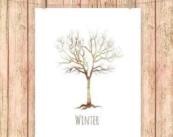 Winter Tree Art Print, Tree, Painted, Paint, Four Seasons Wall Art  8 x 10 Instant Download